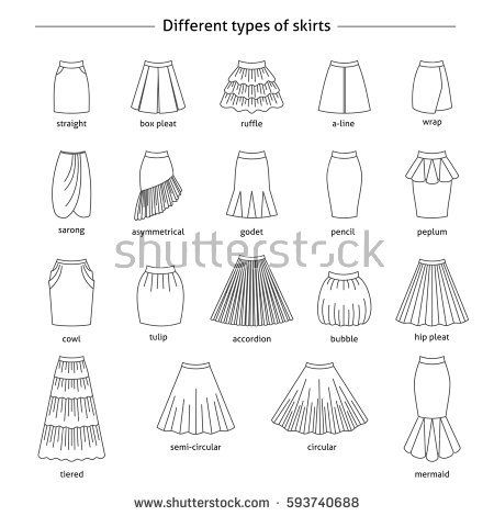 Names Of Design Styles Skirts Set Different Types Skirts Thin Line Stock Vector Fashion Design Sketches Clothes Design Fashion Drawing Sketches