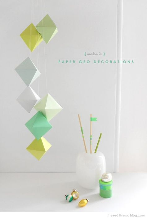 the red thread paper geo decorations with templates