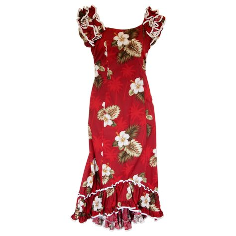 8ee1332b77a Lava Red Hawaiian Meaaloha Muumuu Dress with Sleeves