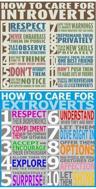Introverts/Extroverts - can apply to learning and participation in the classroom.