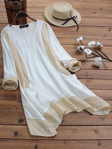 O-NEWE Vintage Patchwork Print V-Ausschnitt Plus Size Kleid mit Taschen - NewChic Mobile