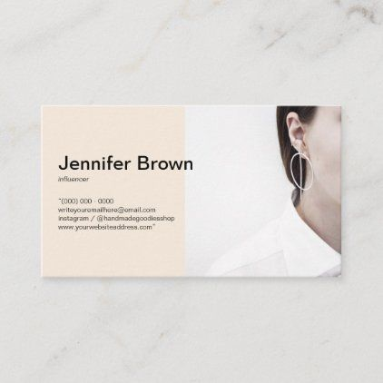 Add Your Photo Minimal Simple Influencer Beige Business Card Zazzle Com Blue Business Card Beige Business Card Photo Business Cards
