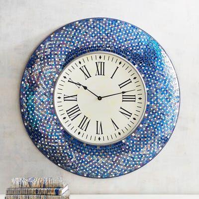 Indigo Mosaic Wall Clock Wall Clock Mosaic Wall Clock