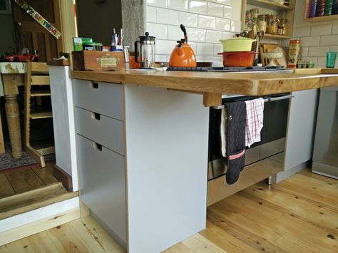 Birch Plywood With Grey Melamine Lift Up Fold Down Oak Counter