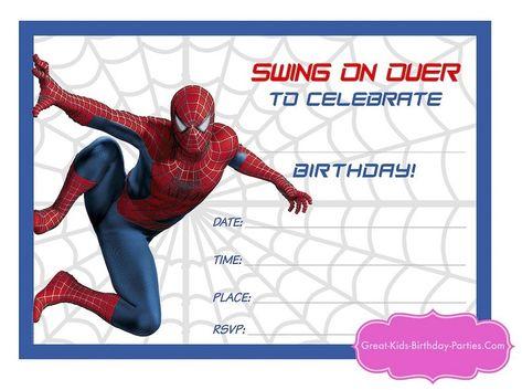 Printable Spiderman Birthday Invitations