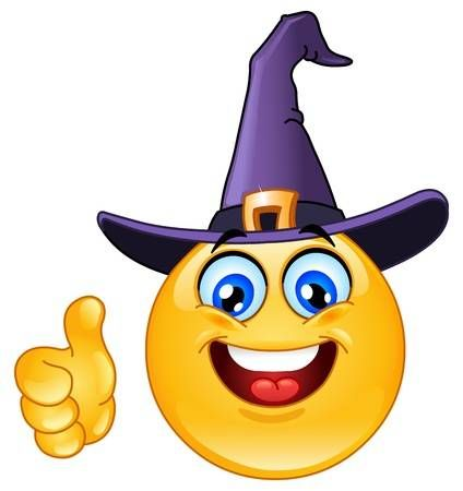 Emoticon With Witch Hat Showing Thumb Up In 2020 Funny Emoticons Emoticon Smiley