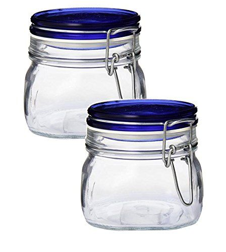 Bormioli Rocco Fido Square Glass Canning Jar With Blue Lid 0 5 Liter Pack Of 2 Glass Canning Jars Canning Jars Bormioli Rocco