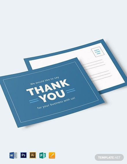 Instantly Download Business Thank You Postcard Template Sample Example In Microsoft Word Do Thank You Postcards Business Thank You Cards Business Thank You