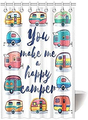 Amazon Com Interestprint Camper Shower Curtain You Make Me Happy Camper Caravans Retro Style Travel Graphic Bathr In 2020 Shower Shower Curtain Unique Shower Curtain