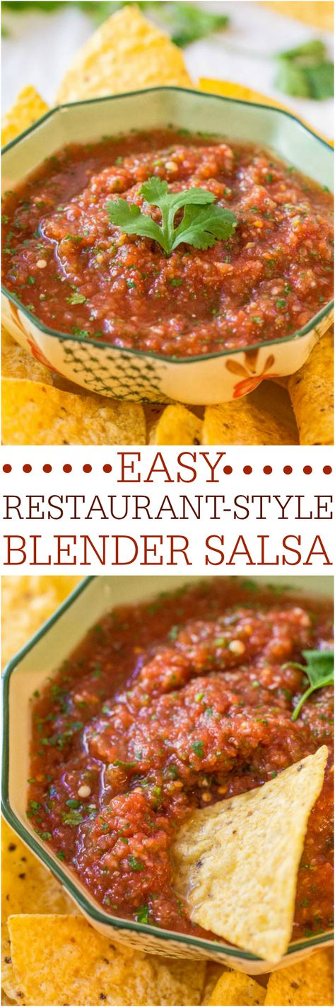 Easy Restaurant-Style Blender Salsa - Make your own salsa in minutes! Fast, easy, goofproof and tastes 1000x better than anything you'd buy!