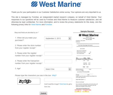 West Marine Customer Feedback Survey, wwwwestmarinefeedback - sample customer satisfaction survey