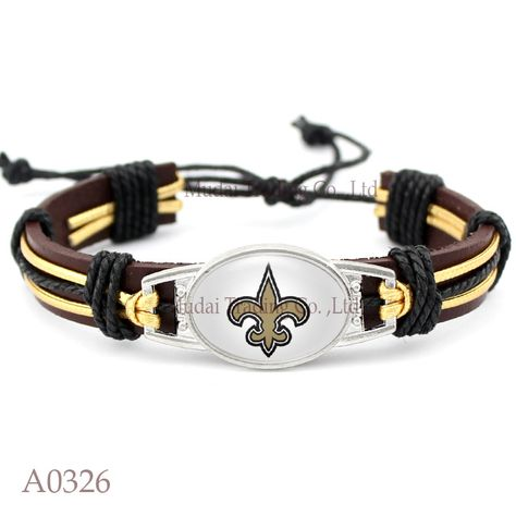 New Orleans Saints Football Leather Cuff Bracelet