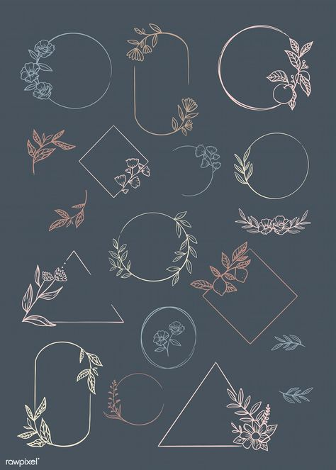 Botanical frame element vector collection   premium image by rawpixel.com