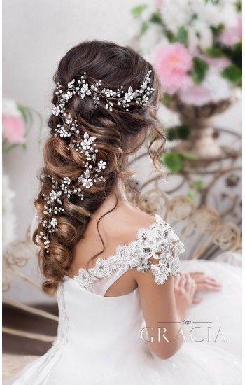 DORA Flower Long Wedding Hair Accessories Crystal Bridal Wire Hair Vine Headpieces #updosweddinghair