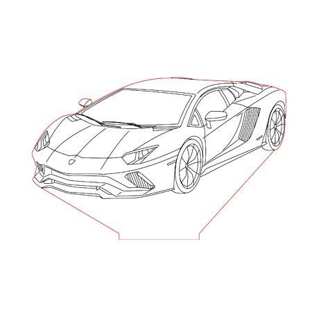 Lamborghini 3d Illusion Lamp Plan Vector File For Laser And Cnc 3bee Studio 3d Illusion Lamp 3d Illusions Illusions