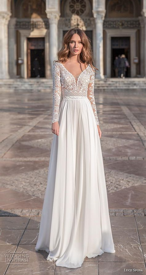 Weddinginspirasi.com featuring - luce sposa 2020 bridal long sleeves v neck heavily embellished bodice romantic modified soft a  line wedding dress sheer button back sweep train (3) mv -- Luce Sposa 2020 Wedding Dresses  #wedding #weddings #bridal #weddingdress #weddingdresses #bride #fashion #collection:GreeceCampaign #label:LuceSposa #year:2020 ~
