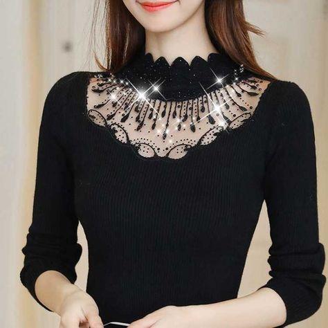 Woherb Black Sweater Women Half Turtleneck Long Sleeve Pullovers Lace Patchwork See Through Slim Knit Tops Korean Fashion 90961 - M / black 899 / China