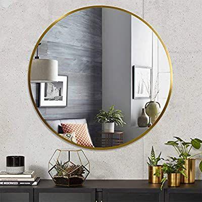 Amazon Com Elevens Wall Mirror Popular 20 Inch Round Wall Mounted Decorative Mirror Metal Frame Best For Mirror Wall Decor Gold Mirror Wall Mirror Decor 20 inch round mirror