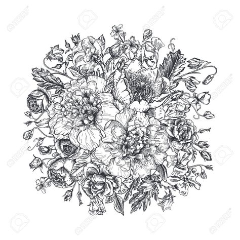 Stock Photo Illustrations De Fleurs Fleur Noir Et Blanc