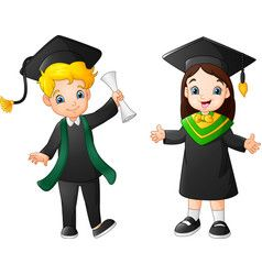 Cartoon Boy And Girl In Graduation Costume Vector Image Cartoon Boy Boy Or Girl Cartoon