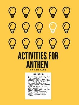 Activities For Anthem By Ayn Rand Anthem Ayn Rand Ayn Rand Pre