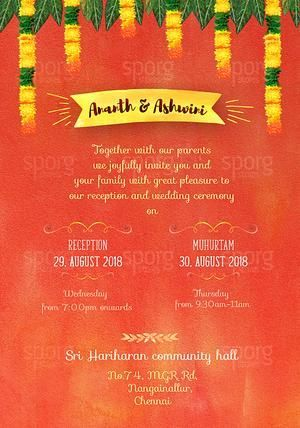 Illustrated Tamil Iyengar Brahmin Wedding Invitation Buy