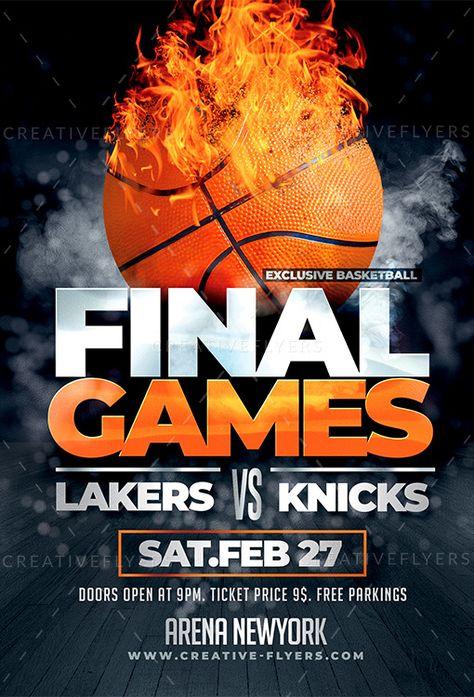 Basketball Final Games Flyer Template - Creative Flyers