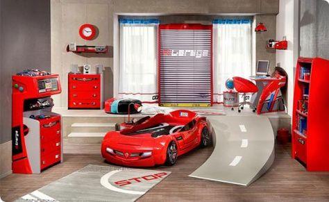 Best sch ne kinderzimmer bett in form von auto rotes bett im zimmer von einem jungen rote m bel grau Tolle Kinderzimmer Designs Pinterest