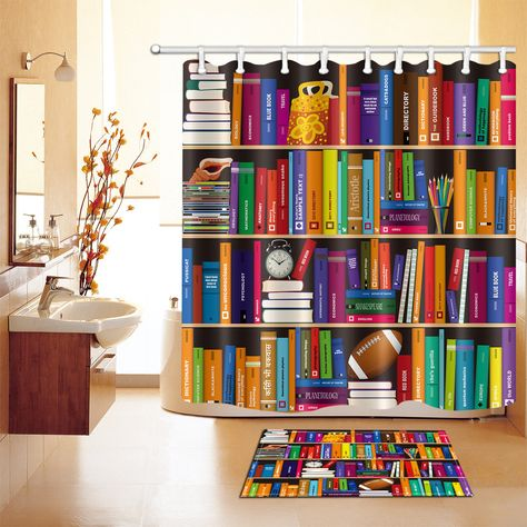 Bookshelf Waterproof Shower Curtain Fabric Hooks Bathroom Mat Rug