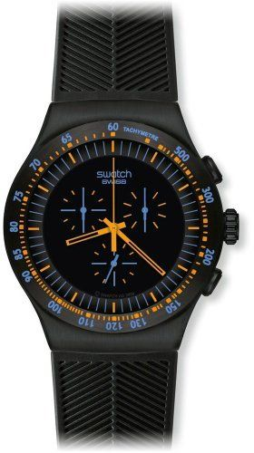 Swatch Men's YOB104 Stainless Steel Black Dial Chronograph Watch Swatch. $183.22. Case diameter: 47 mm. Water-resistant to 30 M (99 feet). Quartz movement. Chronograph watch. Durable mineral crystal protects watch from scratches,