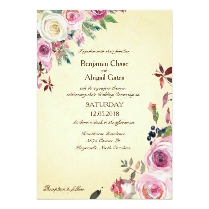 Vintage Rose Bouquet Elegant Floral Wedding Invitation