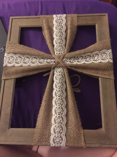 new ideas diy crafts to sell burlap etsy Picture Frame Cross, Picture Frames, Picture Frame Wreath, Crosses Decor, Wall Crosses, Frame Crafts, Wood Crafts, Cross Wall Art, Crafts To Sell