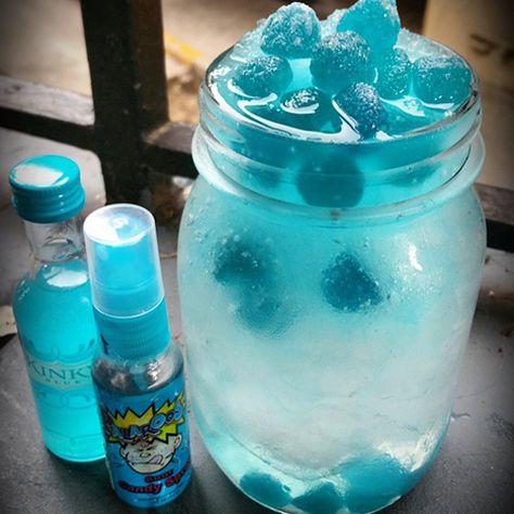 From Instagram fan @jorge_el_bartender.   KINKY SOUR PATCH  Bottom Layer: 1 oz. (30ml) Bacardi Razz 4 oz. (120ml) Smirnoff Ice 3 Sprays of Sour Candy Spray Stir with Ice  Blue Layer:  2 oz. (60ml) Kinky Blue 1 oz. (30ml) Sour Raspberry Blue Juice 3 Sprays of Sour Candy Original Blend with Ice  Add Blue Raspberry Sour Patch Candy