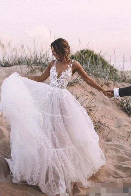 Floral Lace V Neck Outdoor Wedding Dress Tulle Skirt In 2020 Outdoor Wedding Dress Tulle Skirt Wedding Dress Ball Gowns Wedding