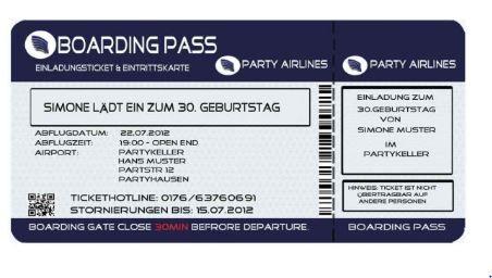 Einladung Als Flugticket Für Den Geburtstag Ticket Einladung