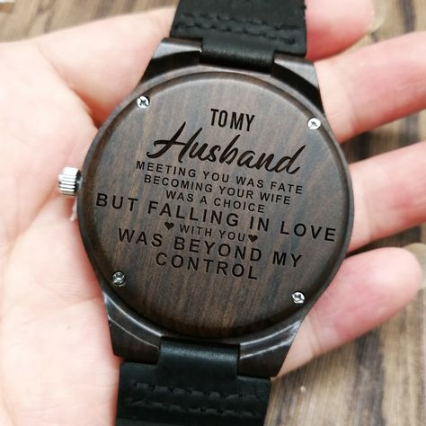 To My Husband-I Am Proud To Be Your Wife Engraved Wooden Watch Men Watch Luxury Watches Birthday Holiday Anniversary Gifts - Jojobay Store
