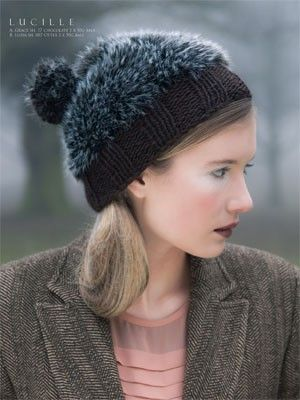 07 - Lucille from #129 - Luzia by Louisa Harding at KnittingFever.com Hats with fur pompoms