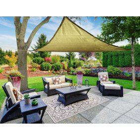 16x16 Square Sun Shade Sail Uv Blocking Outdoor Patio Lawn Garden Canopy Cover Walmart Com Sun Sail Shade Shade Sail Sail Canopies