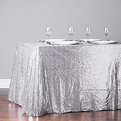 Amazon Com Trlyc 60 Inch By 120 Inch Silver Sequin Rectangular