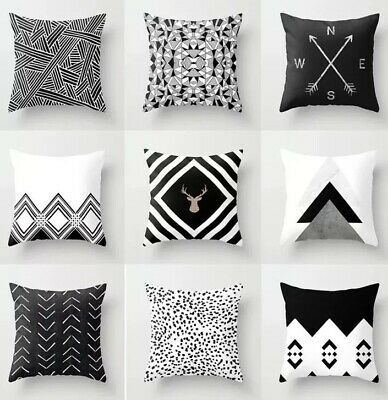 Details About Black White Designed Throw Pillows Read Description In 2020 White Pillow Cases Geometric Cushions Throw Cushion Covers