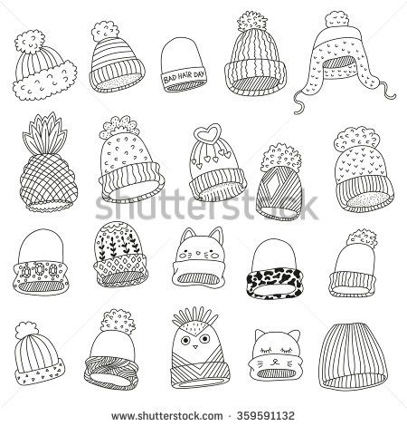 Coloring Book Knit Hats Set Hat Drawing Hat Sketch Fashion Design Drawings
