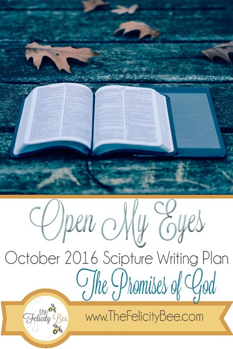 Open My Eyes - October Scripture Writing Plan is here! In this months Bible Study, we are studying THE PROMISES OF GOD and how Gods promises lift us and carry us through our ups and downs! I pray that you join us over at The Felicity Bee as we hear God in a fresh new way! 💛
