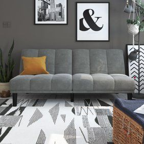 finest selection 9199f 5580b Naomi Home Futon Sofa Bed with Armrest-Color:Gray - Walmart ...
