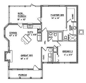 Colonial Style House Plan 2 Beds 2 Baths 1094 Sq Ft Plan 14 243 Tiny House Floor Plans Small House Plans Small House Floor Plans