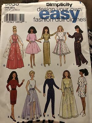 Doll Clothing Pattern nos Simplicity 9838 Vintage