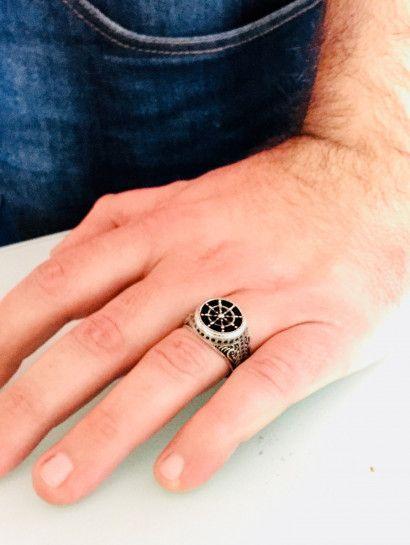 خاتم فضة عيار 925 تركى حجر اونست أسود خصم 50 Class Ring Fashion Rings