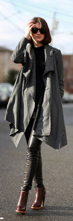 Gray Oversize Waterfall Cardigan + Black Top + Black Leather Pants + Ankle Boots + Sunglasses