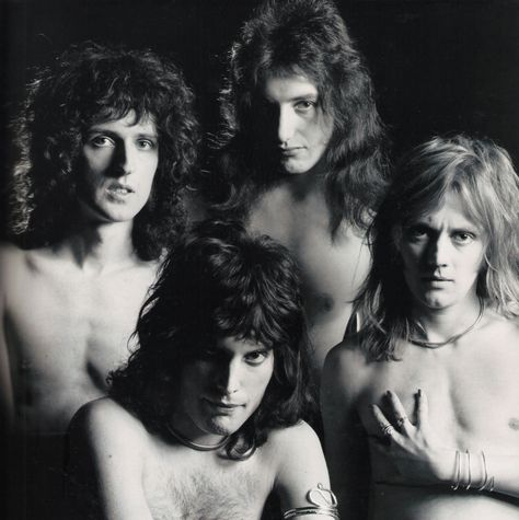"""Mick Rock. """"The Nude Sessions"""". 1973. (Brian May, Freddie Mercury, John Deacon, Roger Taylor)."""