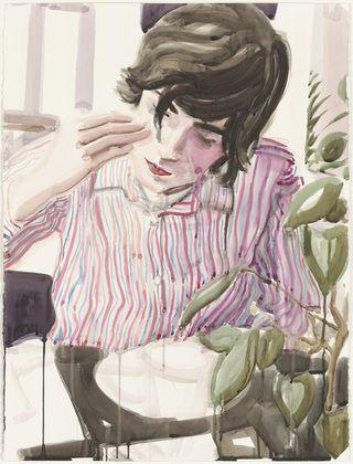 "Elizabeth Peyton. Lunch (Nick). 2003. Watercolor on paper, 29 7/8 x 22 1/2"""