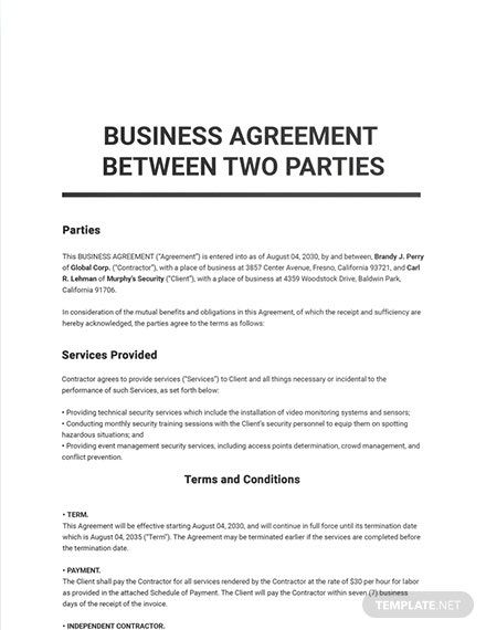 14 Free Agreement Between Two Parties Templates Edit Download Template Net Contract Template Agreement Word Doc